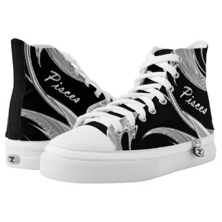 Abstract Silver Pisces Zodiac High-Top Sneakers
