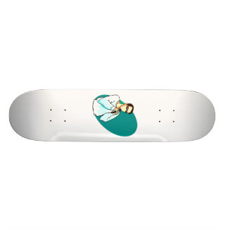 Abstract singer graphic with vintage microphone skateboard