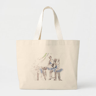 Abstract Sketch Dancing Ballerinas Large Tote Bag