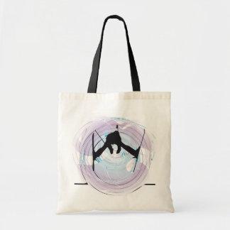abstract skiing illustration tote bag