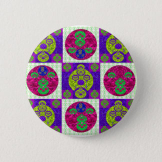 Abstract Skull Pattern Design Button