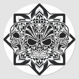 Abstract Skulls Classic Round Sticker