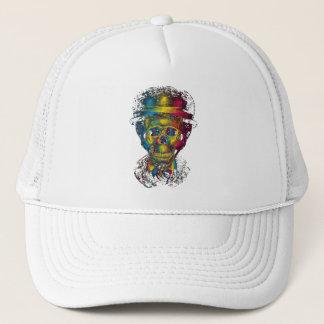 abstract skulls glasses tophat 3d trucker hat