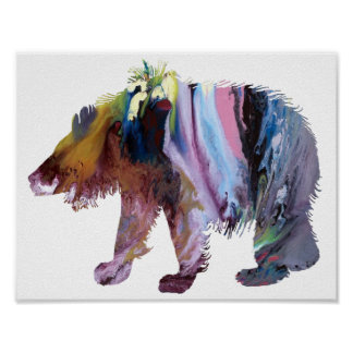 Abstract sloth bear silhouette poster