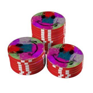 Abstract Smiley Face Poker Chip Set