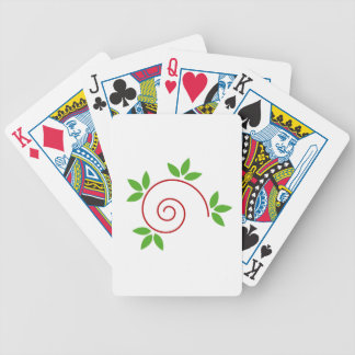 Abstract snail with green leaves playing cards