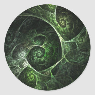 Abstract Snake Skin Green Classic Round Sticker