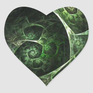 Abstract Snake Skin Green Heart Sticker