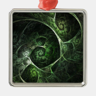 Abstract Snake Skin Green Metal Ornament