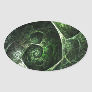 Abstract Snake Skin Green Oval Sticker