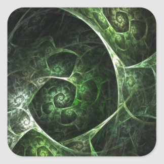 Abstract Snake Skin Green Square Sticker