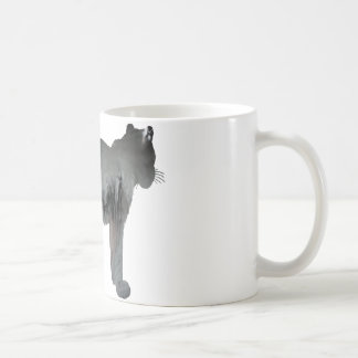 Abstract snow leopard silhouette coffee mug
