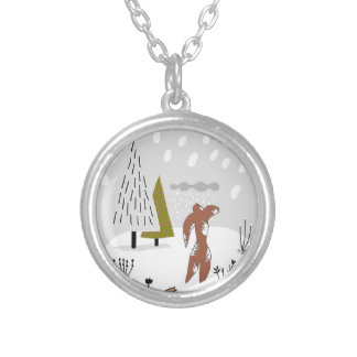 Abstract Snow Skier Silver Plated Necklace