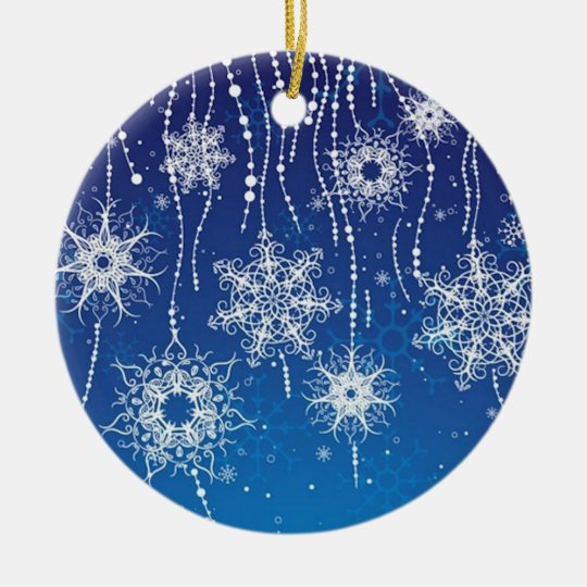 Abstract Snowflakes Ceramic Ornament