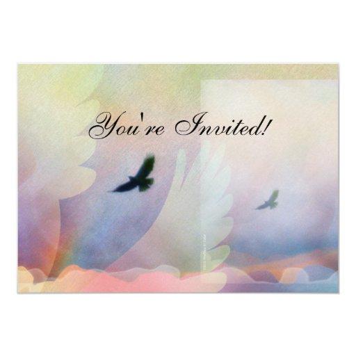 Abstract Soaring Hawks Invitation