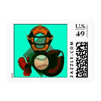 Abstract Softball Baseball Game Stamps Players