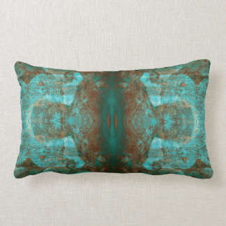 Abstract South Western Boho Rust Teal Mirrored Lumbar Pillow