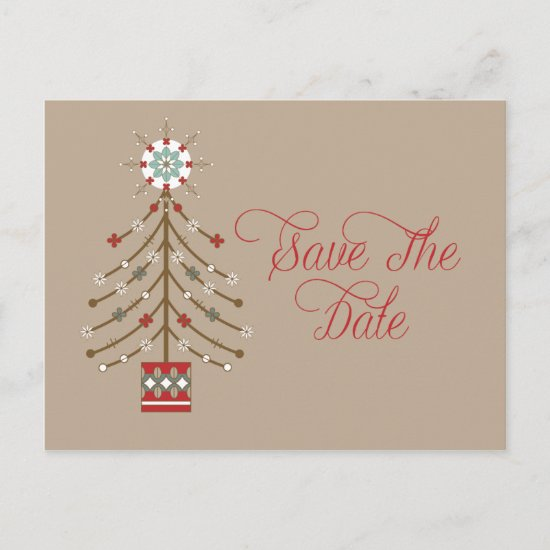 Abstract Southwestern Christmas Tree Save The Date Announcement Postcard