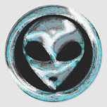Abstract Space Alien Head Round Stickers