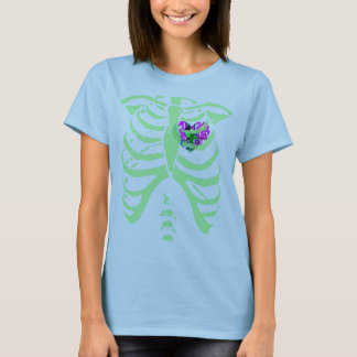 abstract sparrow heart  mint green rib cage T-Shirt