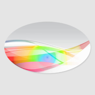 Abstract Spectral Wave Background Oval Sticker