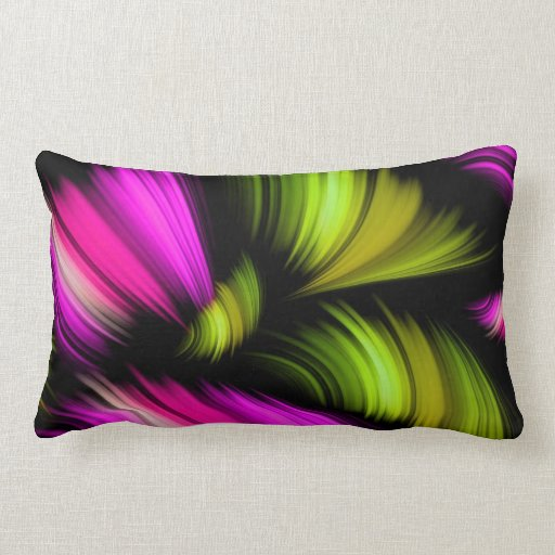 Abstract Spectrum Ribbons Pink Green Throw Pillows