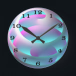"""Abstract Sphere Wall Clock<br><div class=""""desc"""">A graceful,  abstract sphere in shades of pink,  purple,  blue-green,  and white on a turquoise background.  This digital image is customizable,  including the background color.   BTHQ - Creating smiles,  one graphic at a time.</div>"""