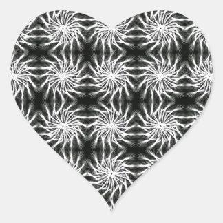 Abstract spinning stars energetic pattern regular heart sticker