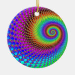 Abstract Spiral Fractal Christmas Tree Ornaments