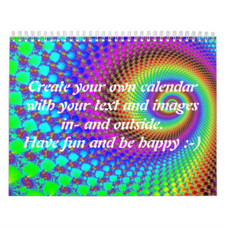 Abstract Spiral Fractal I + your text & images Calendar