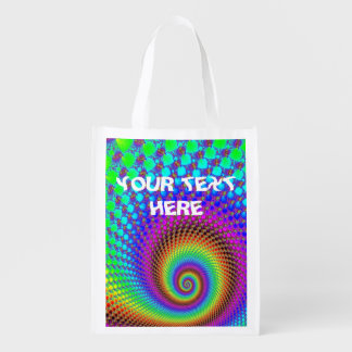 Abstract Spiral Fractal I + your text Grocery Bags
