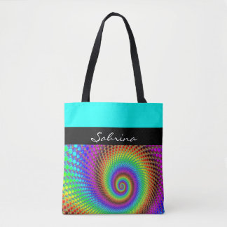 Abstract Spiral Fractal - neon colored Tote Bag