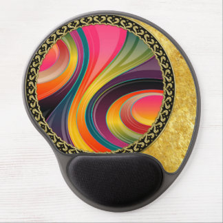Abstract spiral rainbow colorful design gel mouse pad