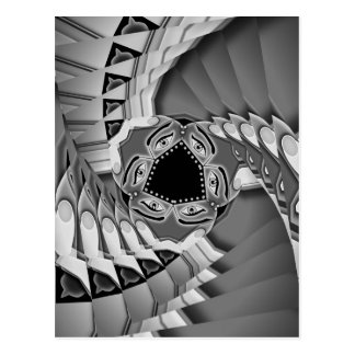 Abstract spiral stairs with eyes in the middle postcard