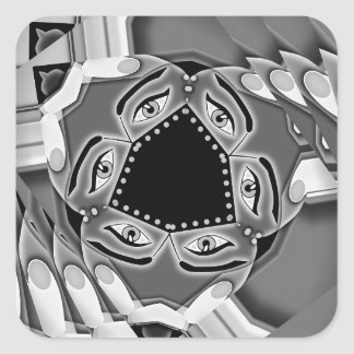 Abstract spiral stairs with eyes in the middle square sticker