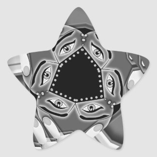 Abstract spiral stairs with eyes in the middle star sticker