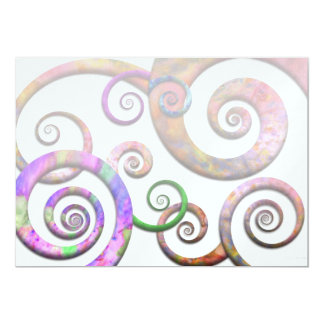 """Abstract - Spirals - Planet X 5"""" X 7"""" Invitation Card"""