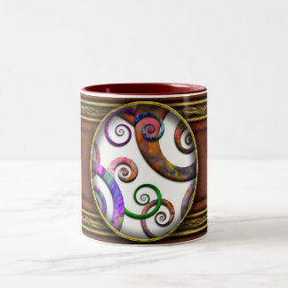 Abstract - Spirals - Planet X Two-Tone Coffee Mug