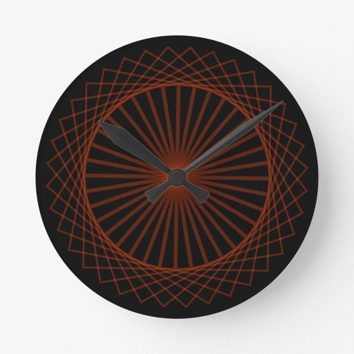 Abstract spirograph concentric circle pattern round clock zazzle - Spirograph clock ...