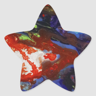 Abstract splashes of color star sticker