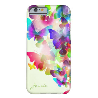 abstract spring colorful butterflies with name barely there iPhone 6 case