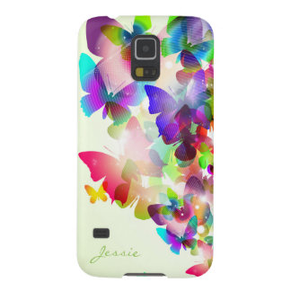 abstract spring colorful butterflies with name galaxy s5 cover
