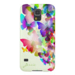 abstract spring colorful butterflies with name case for galaxy s5