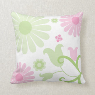 Abstract Spring Green Baby Pink Funky Florals Throw Pillow