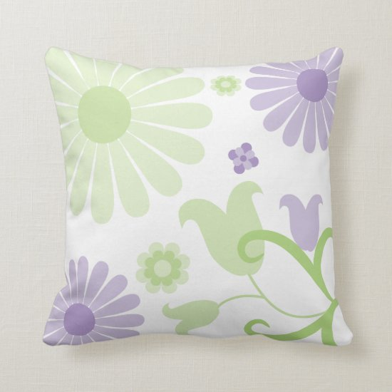 Abstract Spring Green Lavender Funky Florals Throw Pillow