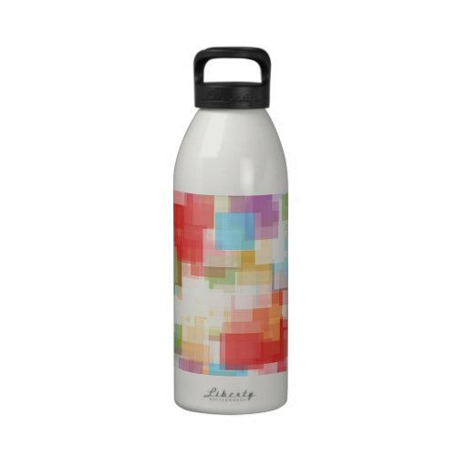 Abstract Square Multicolored Mosaic Water Bottle