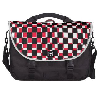 Abstract Square red black and white Commuter Bags