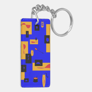 abstract squares and spoons keychain