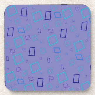 Abstract Squares Blue Lavender Cork Coaster