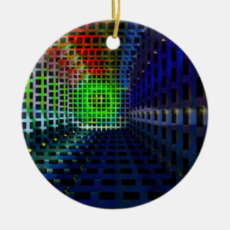 Abstract squares Double-Sided ceramic round christmas ornament